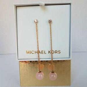 NIB Michael Kors Rose Gold Blush Drop Earrings